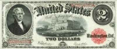 Large Two Dollars Bank Note